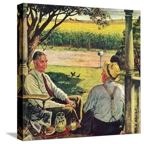 """Summer on the Farmhouse Porch,""August 1, 1947-W^C^ Griffith-Stretched Canvas Print"