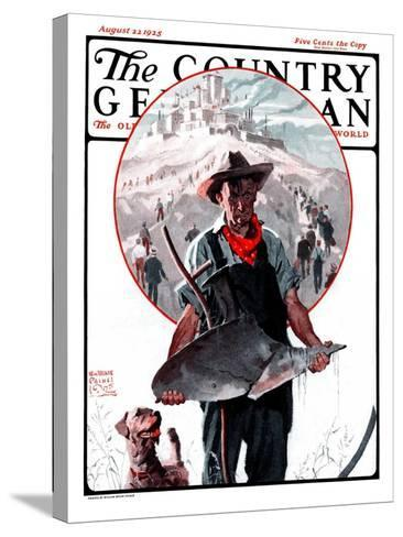 """Broken Plow,"" Country Gentleman Cover, August 22, 1925-William Meade Prince-Stretched Canvas Print"