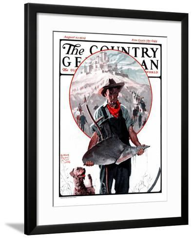"""Broken Plow,"" Country Gentleman Cover, August 22, 1925-William Meade Prince-Framed Art Print"