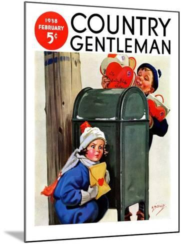 """My Secret Valentine,"" Country Gentleman Cover, February 1, 1938-Henry Hintermeister-Mounted Giclee Print"