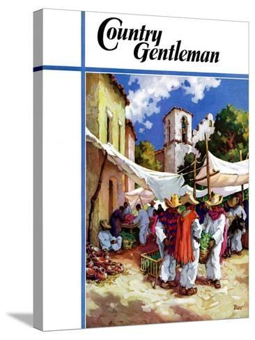 """""""Mexican Village Market,"""" Country Gentleman Cover, June 1, 1938-G. Kay-Stretched Canvas Print"""