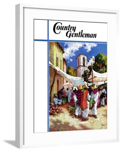 """""""Mexican Village Market,"""" Country Gentleman Cover, June 1, 1938-G. Kay-Framed Art Print"""