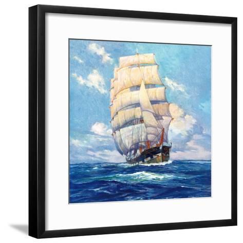 """""""Three Masted Schooner,""""March 1, 1932-Anton Otto Fischer-Framed Art Print"""