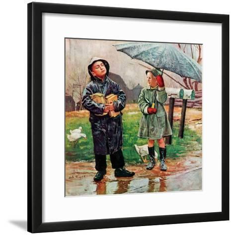 """Waiting for Bus in Rain,""April 1, 1948-Austin Briggs-Framed Art Print"