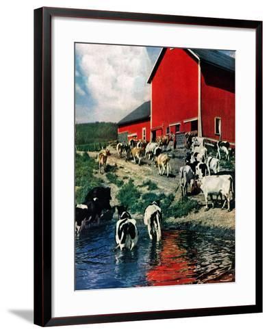"""""""When the Cows Come Home,""""August 1, 1948-J. Julius Fanta-Framed Art Print"""