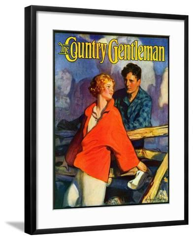 """""""Meeting by the Fence,"""" Country Gentleman Cover, April 1, 1926-McClelland Barclay-Framed Art Print"""