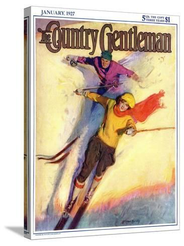 """""""Downhill Skiing,"""" Country Gentleman Cover, January 1, 1927-McClelland Barclay-Stretched Canvas Print"""