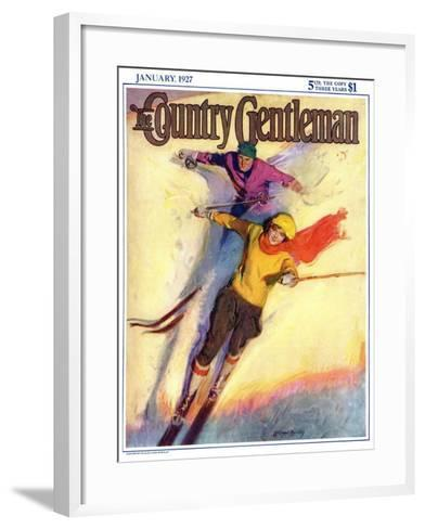"""""""Downhill Skiing,"""" Country Gentleman Cover, January 1, 1927-McClelland Barclay-Framed Art Print"""