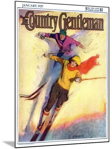 """""""Downhill Skiing,"""" Country Gentleman Cover, January 1, 1927-McClelland Barclay-Mounted Giclee Print"""