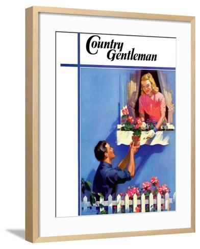 """""""Planting the Windowbox,"""" Country Gentleman Cover, May 1, 1939-F. Sands Brunner-Framed Art Print"""
