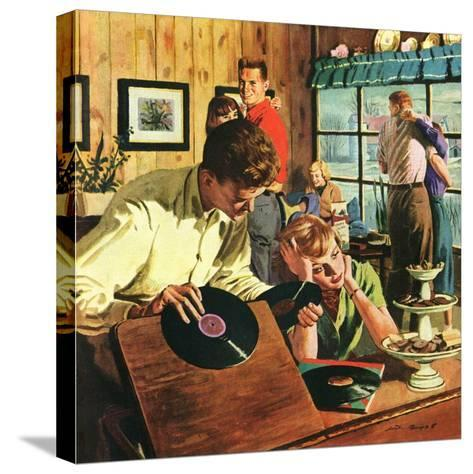 """""""Teenage Party,""""March 1, 1950-Austin Briggs-Stretched Canvas Print"""