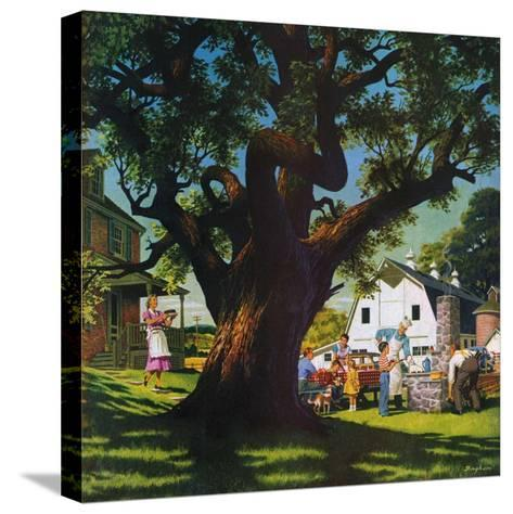 """""""Cookout,""""August 1, 1950-George Bingham-Stretched Canvas Print"""