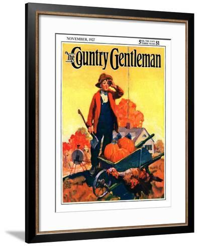 """""""Where's That Turkey?,"""" Country Gentleman Cover, November 1, 1927-William Meade Prince-Framed Art Print"""
