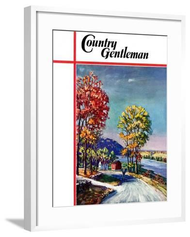 """""""Walking on Country Road,"""" Country Gentleman Cover, October 1, 1939-Walter Baum-Framed Art Print"""