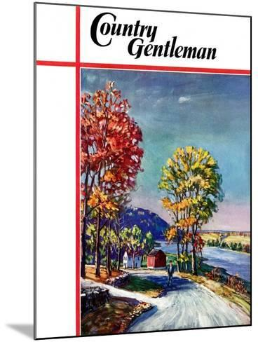 """""""Walking on Country Road,"""" Country Gentleman Cover, October 1, 1939-Walter Baum-Mounted Giclee Print"""