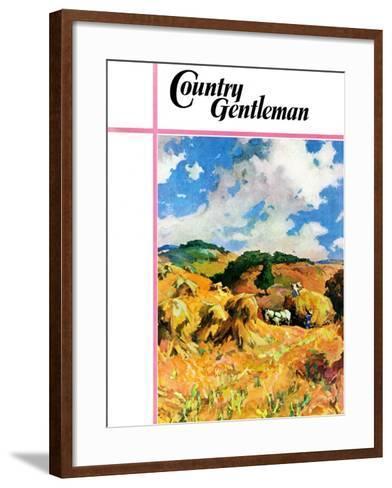 """""""Harvest Wheat,"""" Country Gentleman Cover, September 1, 1940--Framed Art Print"""