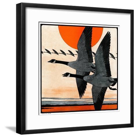 """""""Flock of Geese in Formation,""""November 15, 1924-Paul Bransom-Framed Art Print"""