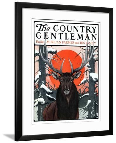 """""""Elk at Sunset,"""" Country Gentleman Cover, January 6, 1923-Charles Bull-Framed Art Print"""