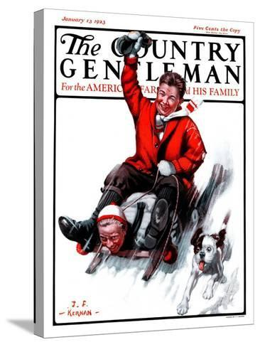 """Downhill on Sled,"" Country Gentleman Cover, January 13, 1923-J^F^ Kernan-Stretched Canvas Print"