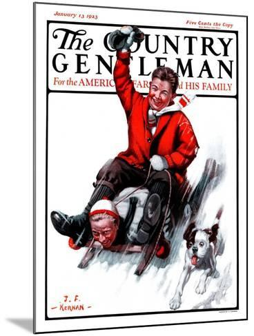 """Downhill on Sled,"" Country Gentleman Cover, January 13, 1923-J^F^ Kernan-Mounted Giclee Print"