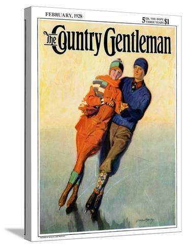 """""""Skating Couple,"""" Country Gentleman Cover, February 1, 1928-McClelland Barclay-Stretched Canvas Print"""