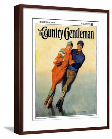 """""""Skating Couple,"""" Country Gentleman Cover, February 1, 1928-McClelland Barclay-Framed Art Print"""