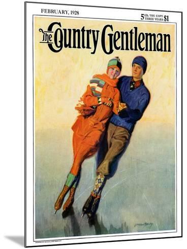 """""""Skating Couple,"""" Country Gentleman Cover, February 1, 1928-McClelland Barclay-Mounted Giclee Print"""