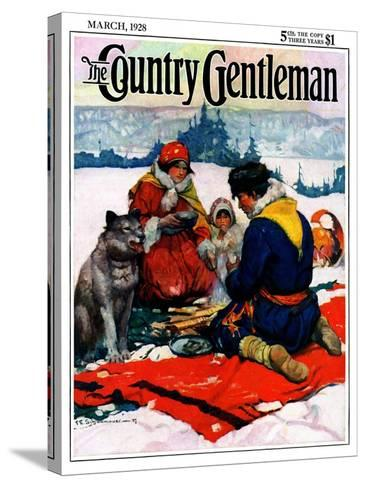 """""""Eskimo Family Meal,"""" Country Gentleman Cover, March 1, 1928-Frank Schoonover-Stretched Canvas Print"""