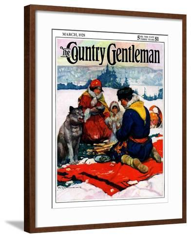 """""""Eskimo Family Meal,"""" Country Gentleman Cover, March 1, 1928-Frank Schoonover-Framed Art Print"""