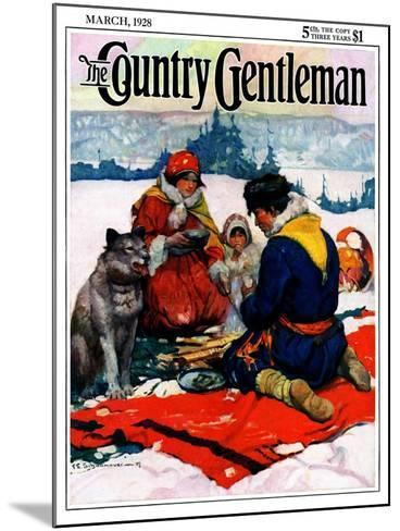 """""""Eskimo Family Meal,"""" Country Gentleman Cover, March 1, 1928-Frank Schoonover-Mounted Giclee Print"""