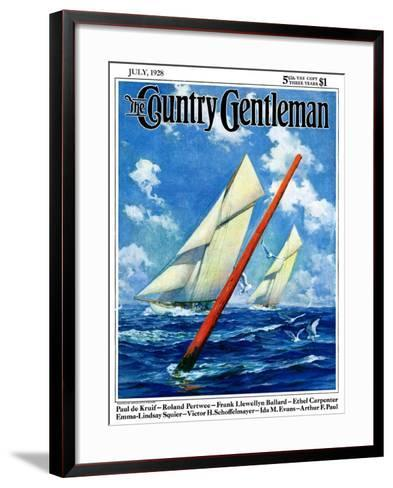 """Sailboat Race,"" Country Gentleman Cover, July 1, 1928-Anton Otto Fischer-Framed Art Print"