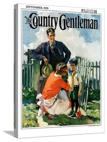 """""""First Day of School,"""" Country Gentleman Cover, September 1, 1928-Haddon Sundblom-Stretched Canvas Print"""