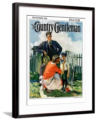 """First Day of School,"" Country Gentleman Cover, September 1, 1928-Haddon Sundblom-Framed Art Print"