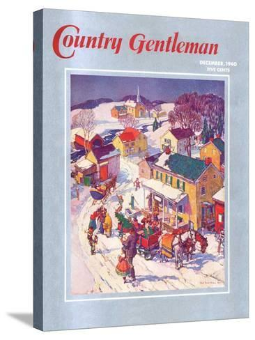 """""""Christmas in Town,"""" Country Gentleman Cover, December 1, 1940-Henry Soulen-Stretched Canvas Print"""