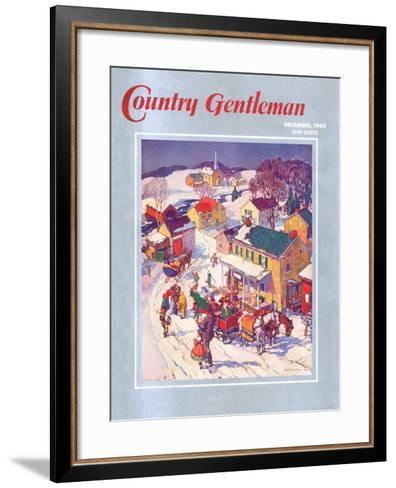 """Christmas in Town,"" Country Gentleman Cover, December 1, 1940-Henry Soulen-Framed Art Print"