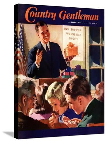 """""""Box Supper Night,"""" Country Gentleman Cover, January 1, 1941--Stretched Canvas Print"""