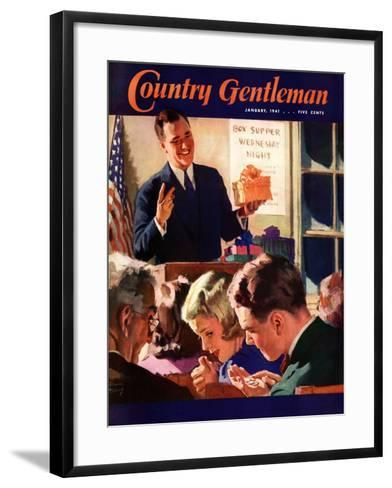 """""""Box Supper Night,"""" Country Gentleman Cover, January 1, 1941--Framed Art Print"""