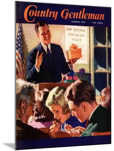 """""""Box Supper Night,"""" Country Gentleman Cover, January 1, 1941--Mounted Giclee Print"""