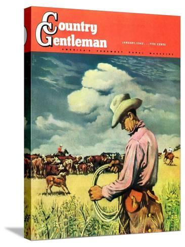 """""""Herding Cattle,"""" Country Gentleman Cover, January 1, 1942-George Schreiber-Stretched Canvas Print"""