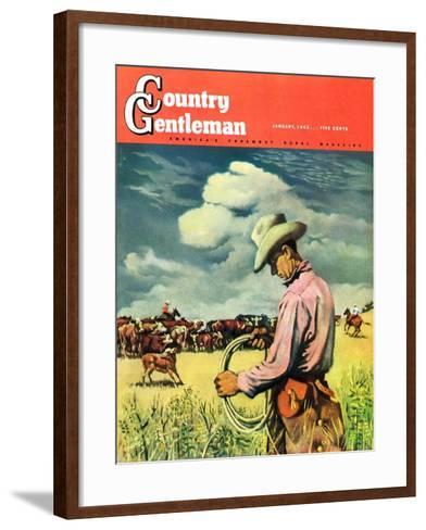 """Herding Cattle,"" Country Gentleman Cover, January 1, 1942-George Schreiber-Framed Art Print"