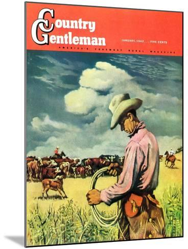 """""""Herding Cattle,"""" Country Gentleman Cover, January 1, 1942-George Schreiber-Mounted Giclee Print"""