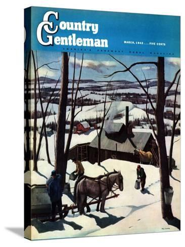 """""""Maple Sap Harvest at Dusk,"""" Country Gentleman Cover, March 1, 1942-Paul Sample-Stretched Canvas Print"""