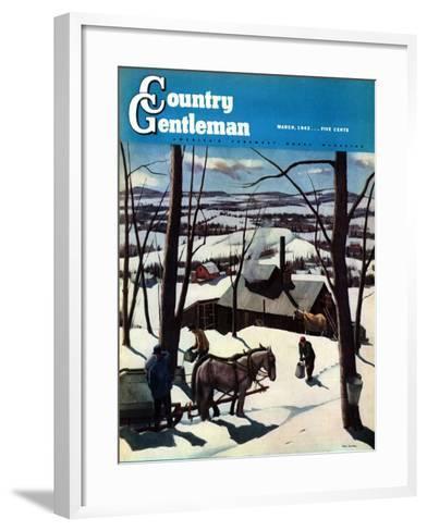 """Maple Sap Harvest at Dusk,"" Country Gentleman Cover, March 1, 1942-Paul Sample-Framed Art Print"