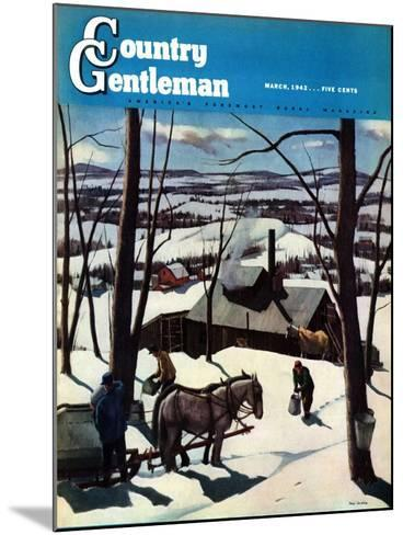 """""""Maple Sap Harvest at Dusk,"""" Country Gentleman Cover, March 1, 1942-Paul Sample-Mounted Giclee Print"""