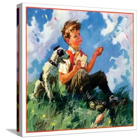 """""""Kite Flying,""""March 1, 1935-Henry Hintermeister-Stretched Canvas Print"""