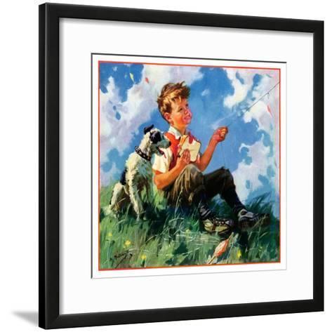 """""""Kite Flying,""""March 1, 1935-Henry Hintermeister-Framed Art Print"""