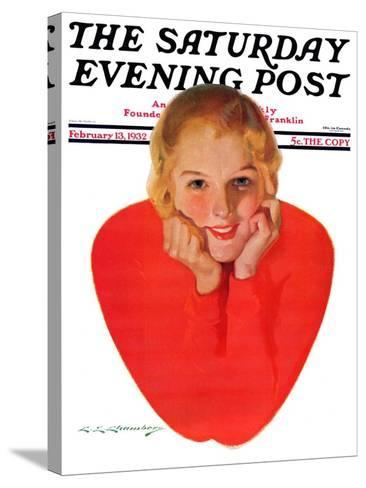 """""""Valentine Girl,"""" Saturday Evening Post Cover, February 13, 1932-Charles E. Chambers-Stretched Canvas Print"""