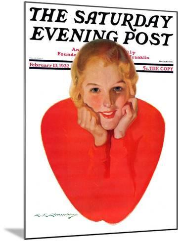 """""""Valentine Girl,"""" Saturday Evening Post Cover, February 13, 1932-Charles E. Chambers-Mounted Giclee Print"""