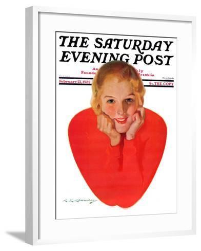 """Valentine Girl,"" Saturday Evening Post Cover, February 13, 1932-Charles E. Chambers-Framed Art Print"