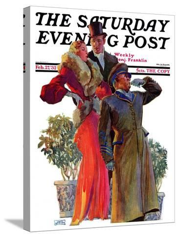"""Taxi!,"" Saturday Evening Post Cover, February 27, 1932-John LaGatta-Stretched Canvas Print"